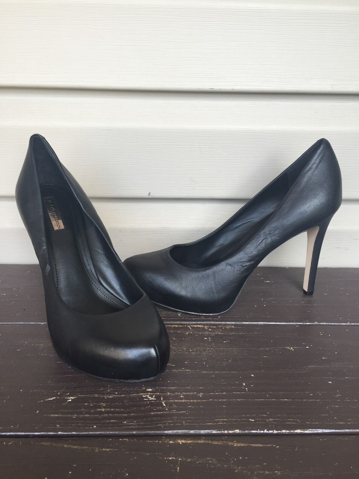 BCBG GENERATION TWIST PLATFORM PUMPS LEATHER HEELS ALMOND TOE noir SZ 9 NEW  90