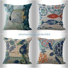 4pcs cushion covers beach coastal seahorse turtle sea life fish cushion pillow