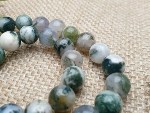 Strang 39 cm Baum Achat Edelstein Perlen weiß grün rund Kugel 10 mm Gemstone DIY