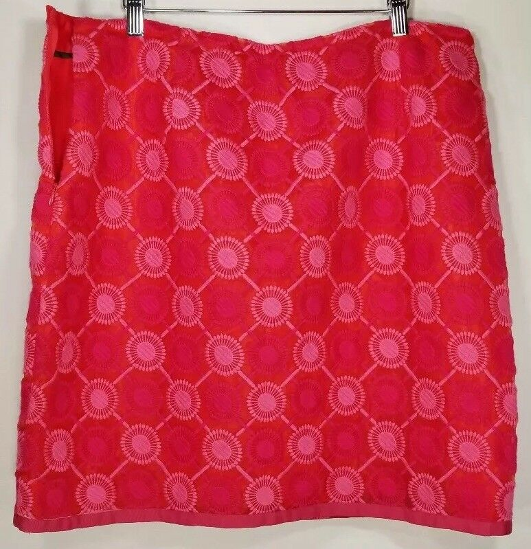 BODEN Women's Amaranth Embroidered Skirt Size 14 A Line Floral Red Lined  118