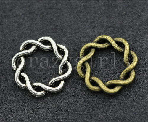 Lot 10//40//200pcs Tibetan silver handmade Annulus Charms Connectors Pendant 14mm