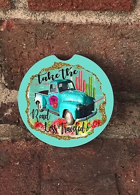 Car Coasters Road Less Traveled//Boho Car Coasters SET OF 2