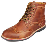 Men Leather Brogue Dress Boot Chukka Lace Up Wing-tip Martin Retro Oxford Shoes