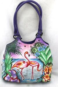 ANUSCHKA-Tropical-Flamingo-Hand-Painted-Leather-Double-Strap-Shoulder-Bag