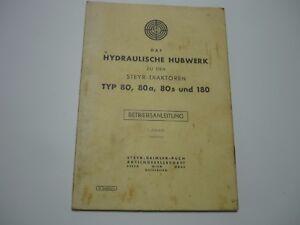 Steyr-Daimler-PUCH-HYDRAULISCHE-HUBWERK-Typ-80-80a-180-Betriebsanleitung