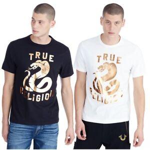 True-Religion-Herren-Kupfer-Schlange-Tee-T-Shirt-Metallic-Foil-Print