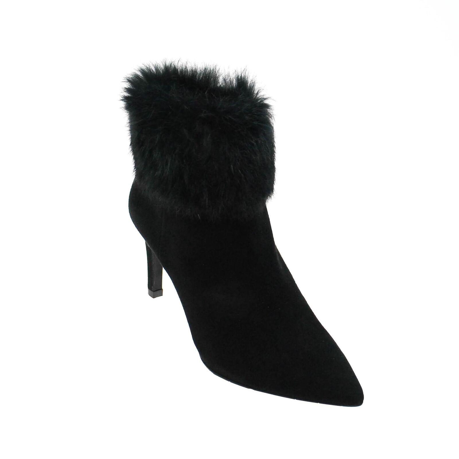 Grandes zapatos con descuento Perlato Damen Stiefelette Wildleder Schwarz mit Fellbesatz