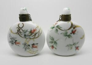 VINTAGE HAND PAINTED ROSE FLORAL DESIGN PORCELAIN BOTTLES (2) SIGNED RH-LB-C1136