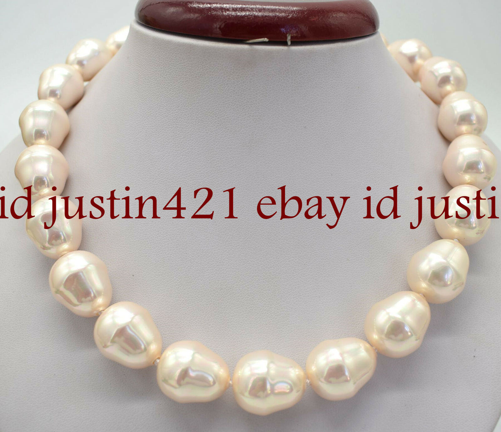Fashion Rare 17-19mm Pink South Sea Baroque Shell Pearl Necklace 18'' AAA+