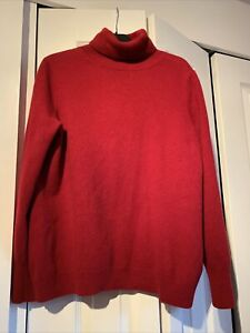Jaeger-Roll-Neck-Jumper-Red-Thin-Knit-Wool-Cashmere-Long-Sleeve-XL-14-To-16