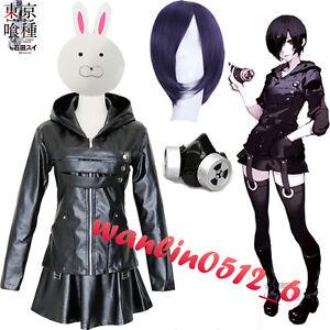 Tokyo Ghoul Kirishima Touka Black Outfit Masks Full Set Cosplay