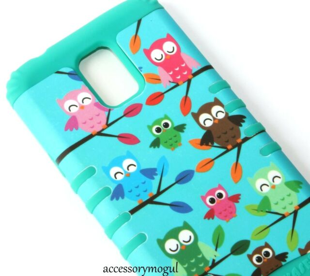 For Samsung Galaxy S5 - HARD&SOFT RUBBER HYBRID ARMOR SKIN CASE COVER GREEN OWLS