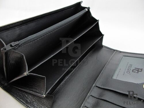 PELGIO Real Genuine Stingray Skin Leather Women/'s Clutch Wallet Long Purse Black