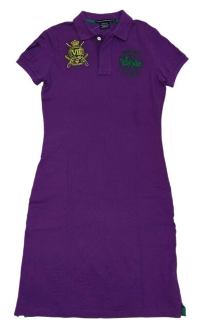 Polo Ralph Lauren Big Pony Match Tennis Mesh Pullover Dress Shirt Purple Small