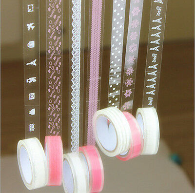 10 M Plastic Tape White Pink Lace Crown Paris Craft Self Adhesive Scrapbook 50+