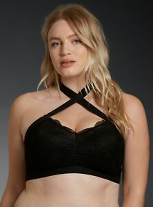 3d9c77fad513d Image is loading Torrid-Womens-Bralette-Black-Elastic-Twist-Halter-Lace-