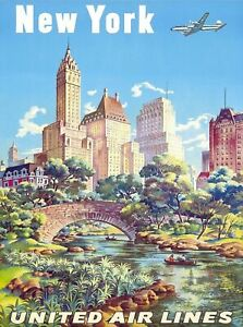 1940s New York United Air Lines Vintage Advertisement Art Poster Print. NYC