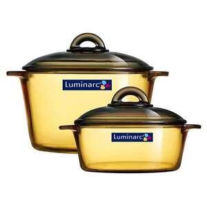 Luminarc-pot-Vitroflam-Casserole-2-Set-1L-3L-Heat-Resistant-Glass-EcoFriendly