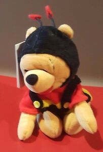 Disney Valentine's Day Bumble Bee Winnie the Pooh Mini Bean Bag Beanie NWT Heart