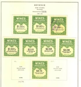 RE183-RE203-Unused-Used-Wine-Revenue-Stamp-Collection-Cat-449-00-Stuart-Katz