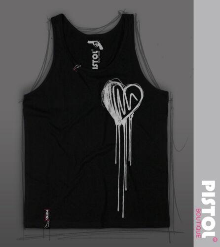 singlet Pistol Boutique mens Black Dribble Sketch heart graffiti fashion Vest