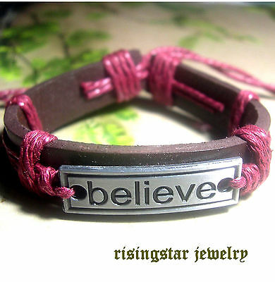 "Women Handmade ""Believe"" Leather Hemp Surfer Character Hip Bracelet Wristband"