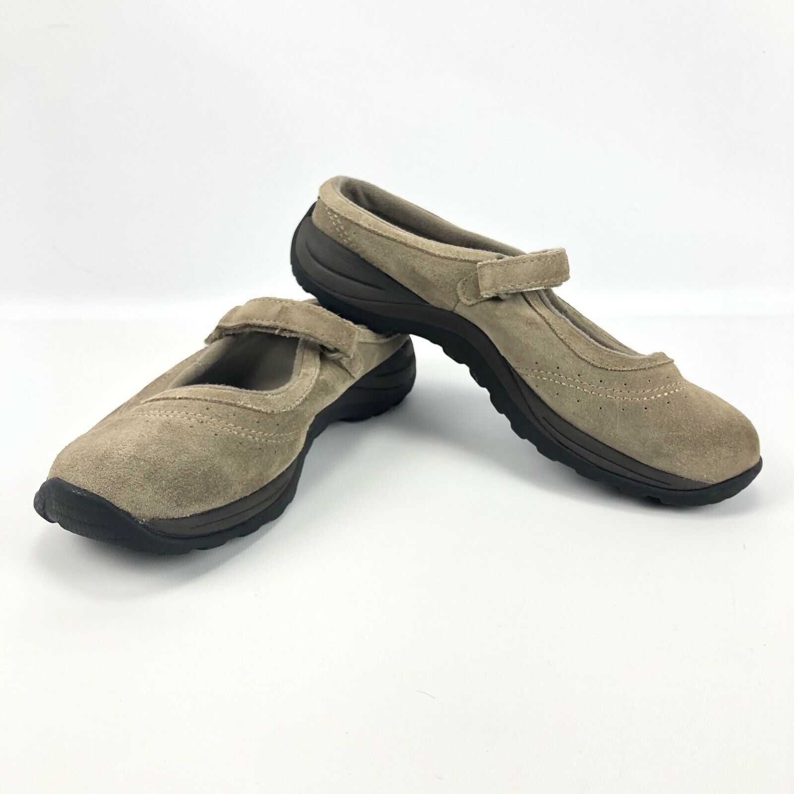 LL Bean Mary Jane Flats Clog Mules Brown Suede Leather shoes Womens Size 9.5M