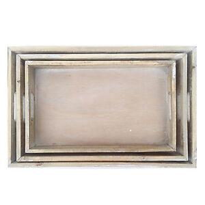 3er Tablett Set Holz Gekälkt Gross Rechteckig Kerzentablett