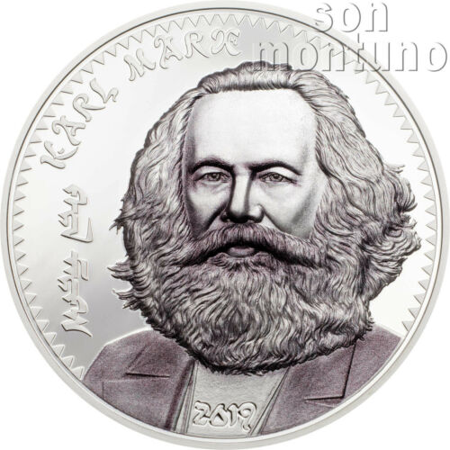 KARL MARX 1 oz Silver High Relief Partially Colorized Proof Coin 2019 Mongolia
