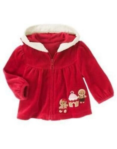 NWT Gymboree Girls Holiday Shop Hooded Velour Gingerbread Scene 0-3 3-6 18-24 M
