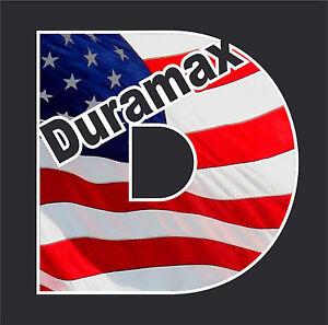 Duramax USA Flag Vinyl Decal chevrolet chevy turbo diesel Truck ...