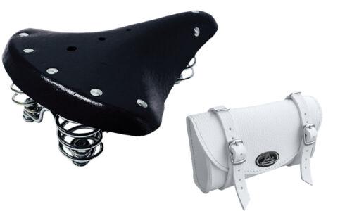 Bicycle saddle retro New Black White + Saddle Bag MONTEGRAPPA