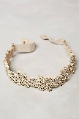 NWT Anthropologie Spun Gold Neutral Beaded Belt Size L Large $58