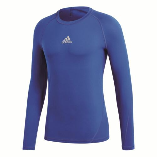 Adidas Kids Alphaskin Sports Football Soccer Long Sleeve Base Layer Top Blue