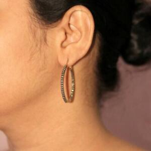 Pave Diamond Hoop Earrings 925 Sterling Silver Hoop Earring For Women Girls