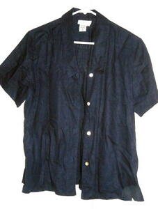 Coldwater-Creek-Blue-Top-Rayon-Linen-Blend-Size-M-Fits-to-42-034-Bust-Free-Shipping