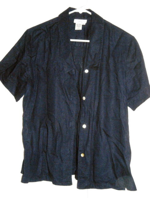 Coldwater Creek Blue Top Rayon Linen Blend Size M Fits to 42
