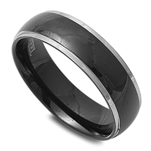 MENS WEDDING BAND Black design Stainless Steel Ring SIZES 7-13