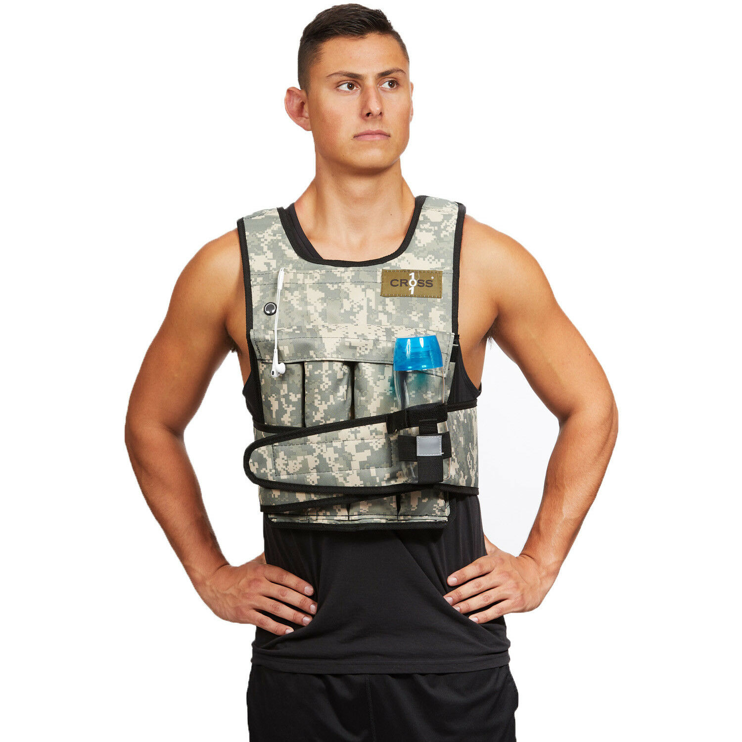 CROSS101 Camouflage Adjustable Weighted Weight Vest  with Shoulder Pads  comfortably