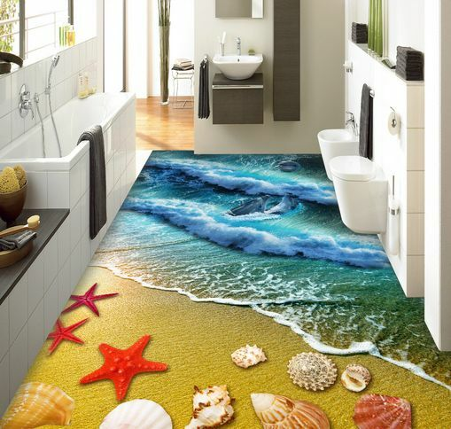 3D Starfish Rolling Wave Floor WallPaper Murals Wall Print Decal 5D AJ WALLPAPER