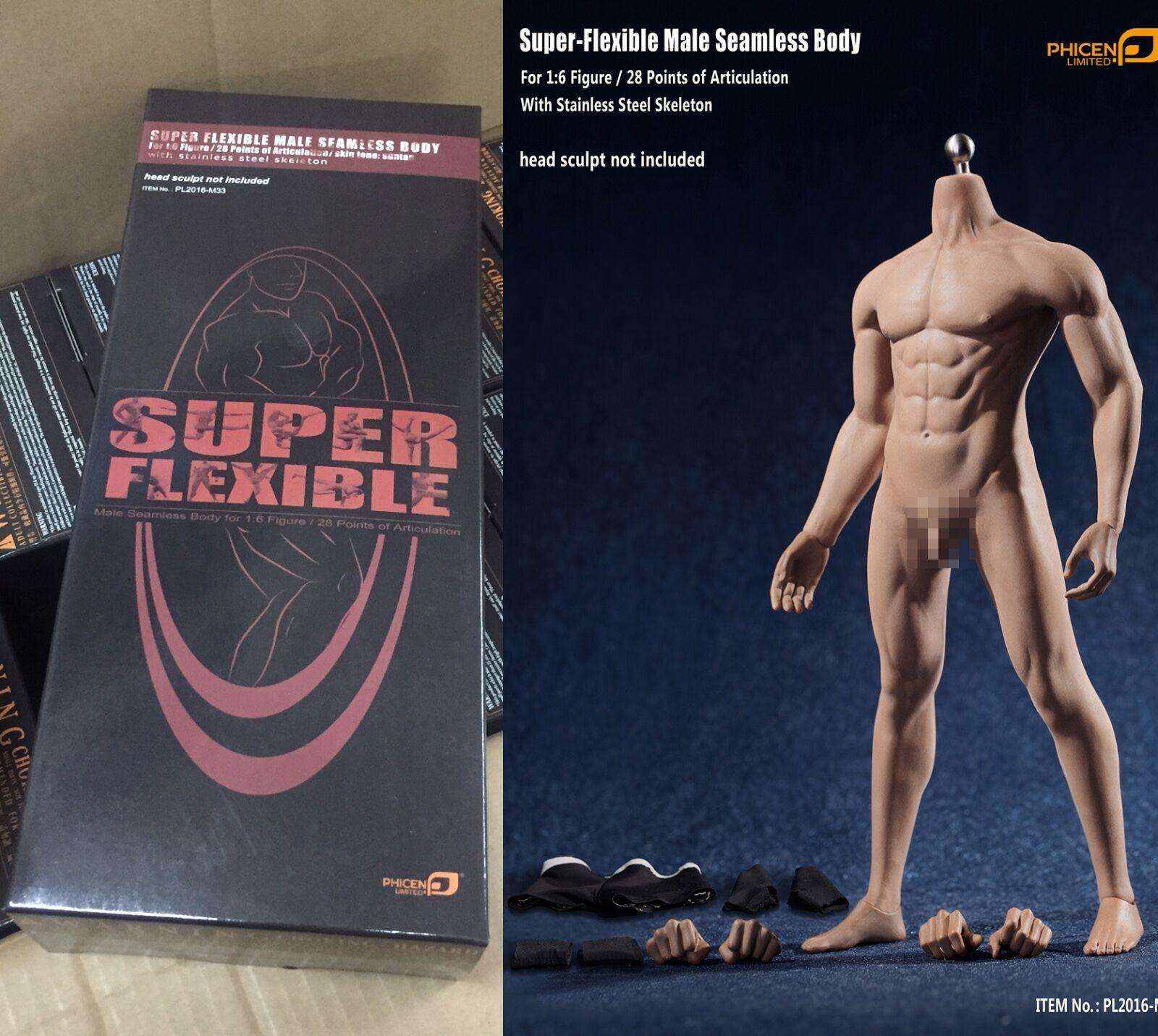 selección larga PHICEN PL2015-M33 1 6 Escala Figura súper súper súper Flexibles Transparente desnudo masculino Cuerpo Bronceado  disfrutando de sus compras