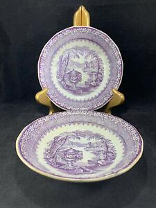 Set-of-2-Podmore-Walker-PW-amp-Co-Pearl-Stone-Ware-Washington-Vase-Purple-Bowls