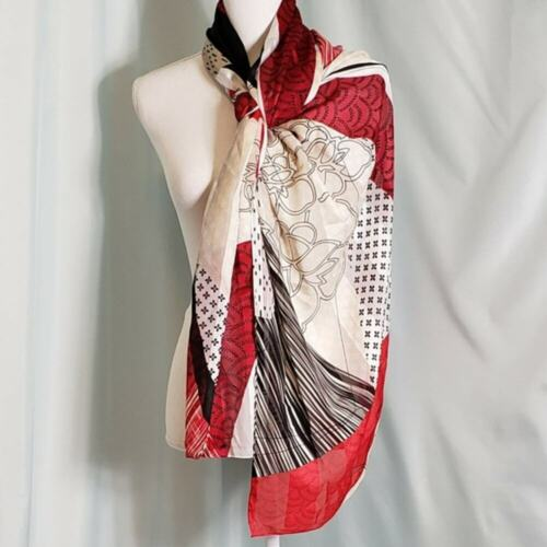 Black, White and Red Patterned silk scarf