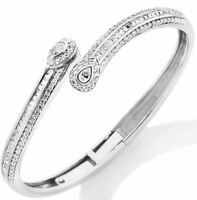 Victoria Wieck 3.28ct Absolute Pear Rd. Baguette Bypass Sterling Bangle Bracelet