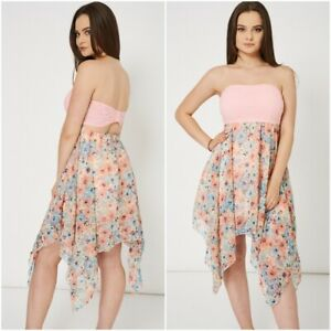 Lagenlook-Boob-Tube-Summer-Dress-Beach-Cover-Up-Bandeau-Holiday-UK-12-14-Pink