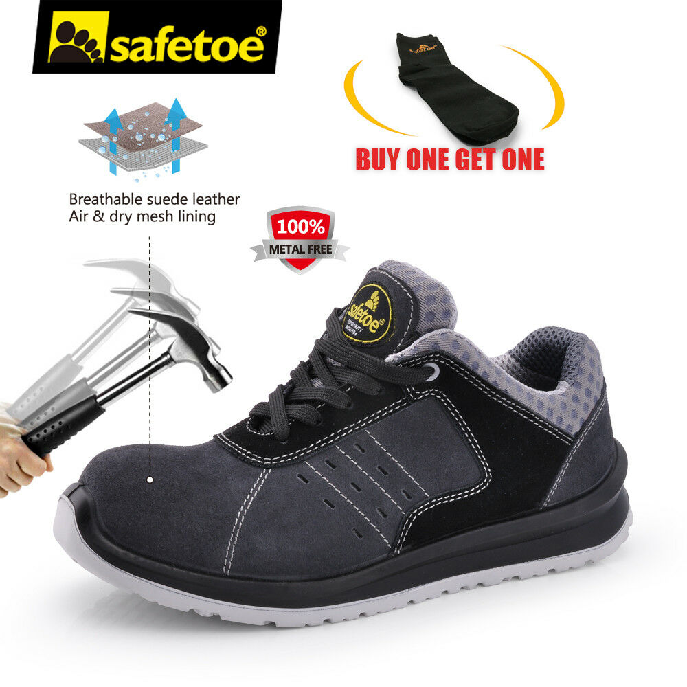Cuero para Hombre Zapatos Trabajo safetoe peso ligero compuesto Puntera Suela de Uñas Anti-gris