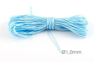 10m Makramee Band Schmuck Kordel Ø1mm Blau Flechten Knoten Kumihimo