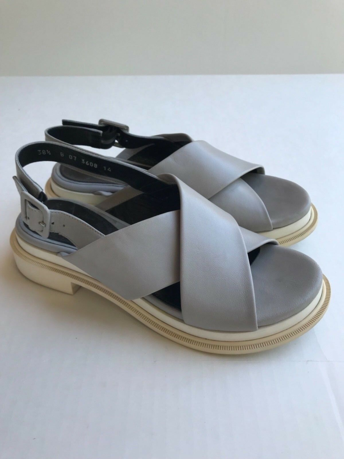 ROBERT CLERGERIE Grey white CALIENTE SANDALS 38.5 7-7.5 France shoes