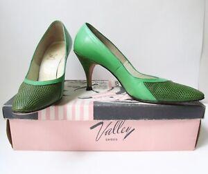 Vtg-50s-Rockabilly-green-vinyl-snakeskin-stiletto-heel-shoes-pumps-6-5-AAA