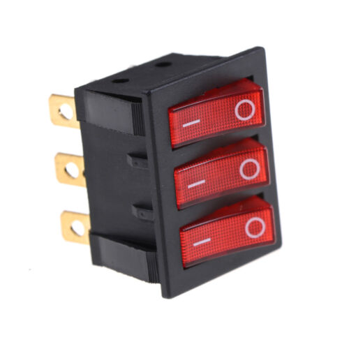 KCD3 34*40 Big Rocker Switches With Red Light Three-Way Switch 9Pin 2Position DT